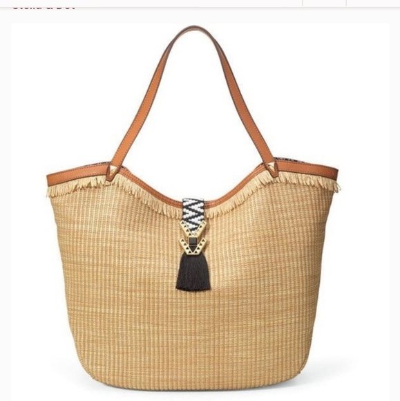Stella & Dot Handbags - Stella And Dot Riveria Tote with Raffia Fringe